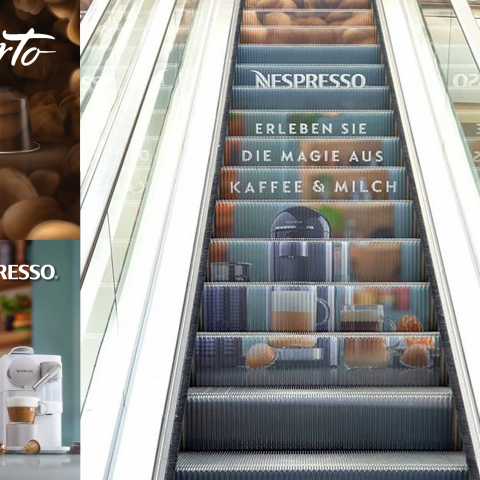 Nespresso Escalator Campaign Out-of-home Advertising Motion Icon UK and Europe