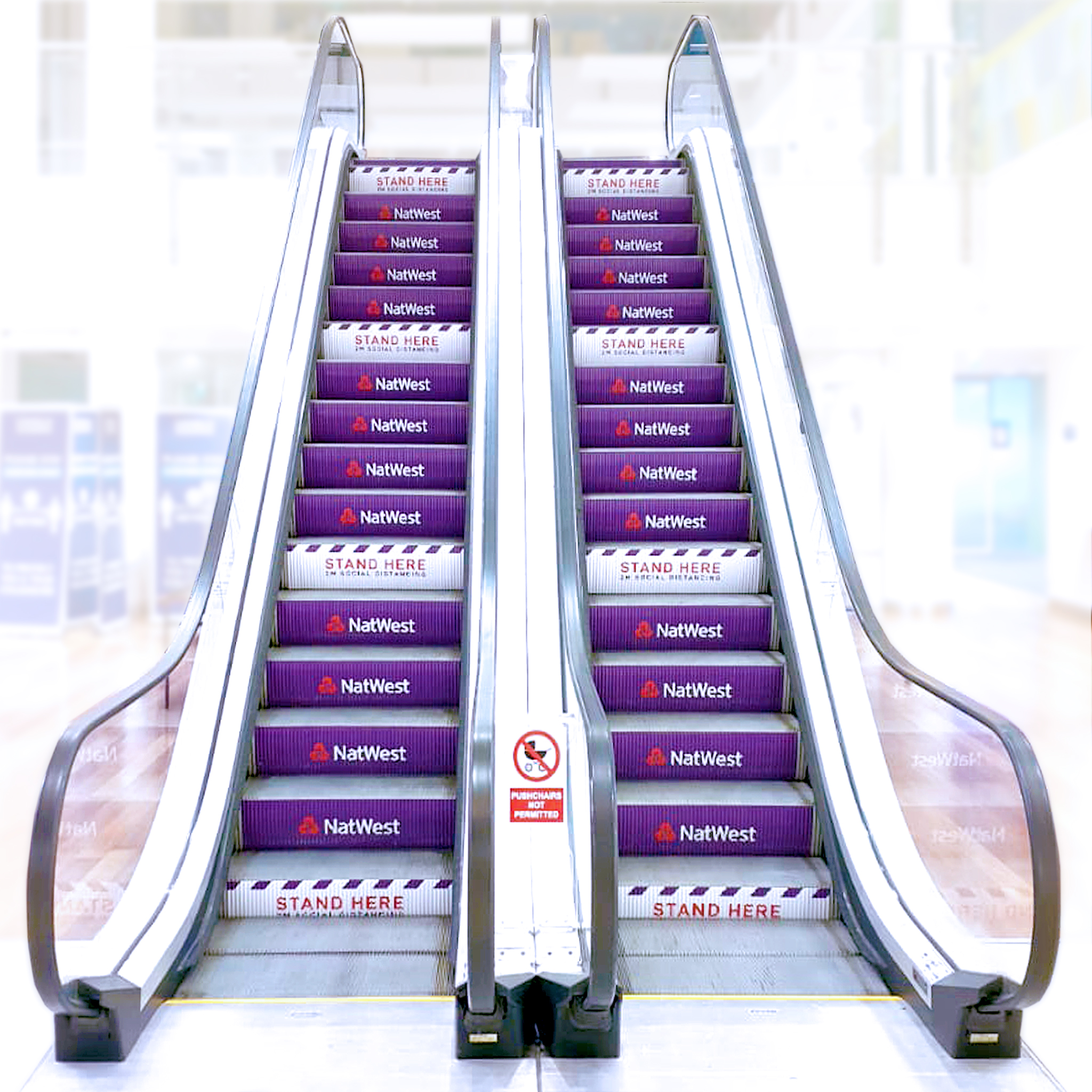 NatWest Social Distancing Awareness Escalator Step Branding