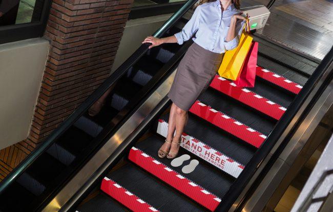 Social Distancing Awareness Escalator Step Branding