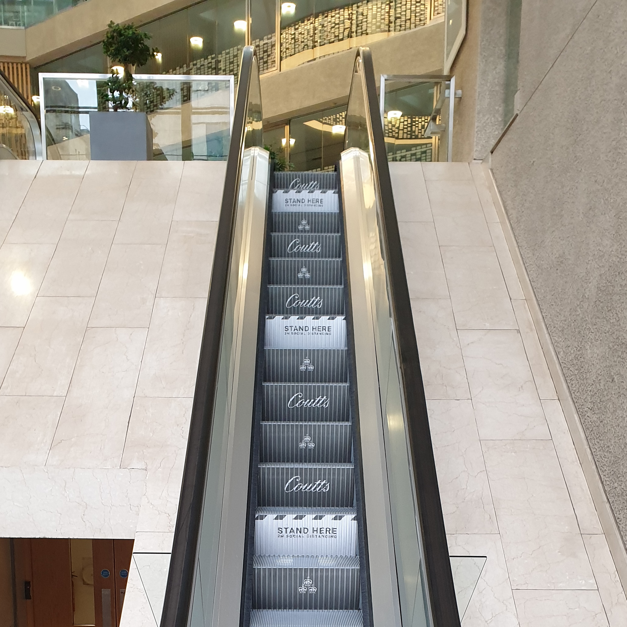 Coutts Bank Social Distancing Awareness Escalator Step Branding